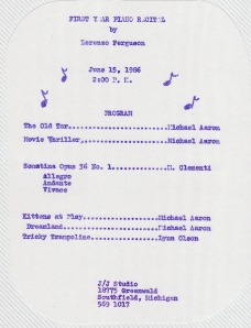 The original program from my very first piano recital.