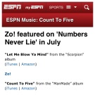 """Count To Five"" got some love in July on ""Numbers Never Lie"" (July 2013)"